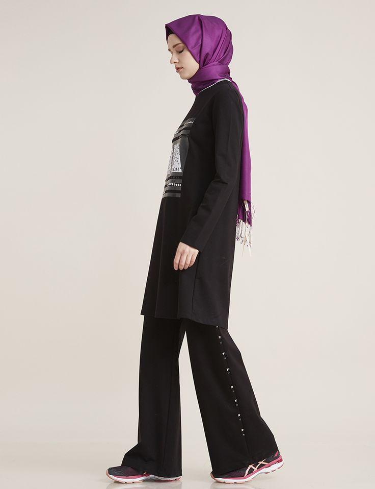 Taş ve Baskı Detaylı Tunik Siyah B7 21131 | Kayra Online