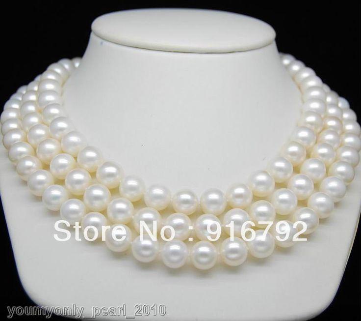 Бесплатная доставка >>>>> мп  14 К ю . г . благороднее 3Row 10 - 11 мм AAA жемчужные ожерелья ( 17  18  19  )