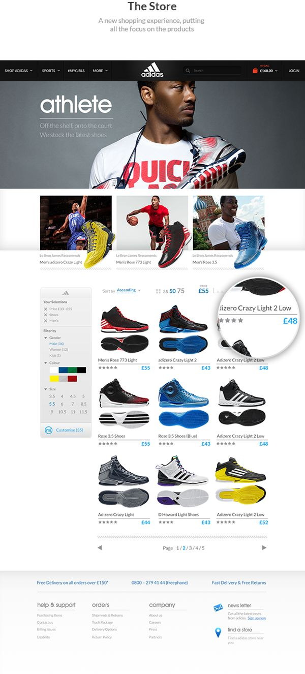 Good looking e-commerce Adidas #Website Concept by Jonathan Kelley, via #Behance #Web #Design #Website #Webdesign #Inspiration