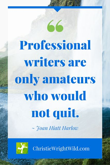 """""""Professional writers are only amateurs who would not quit."""" ~Joan Hiatt Harlow 