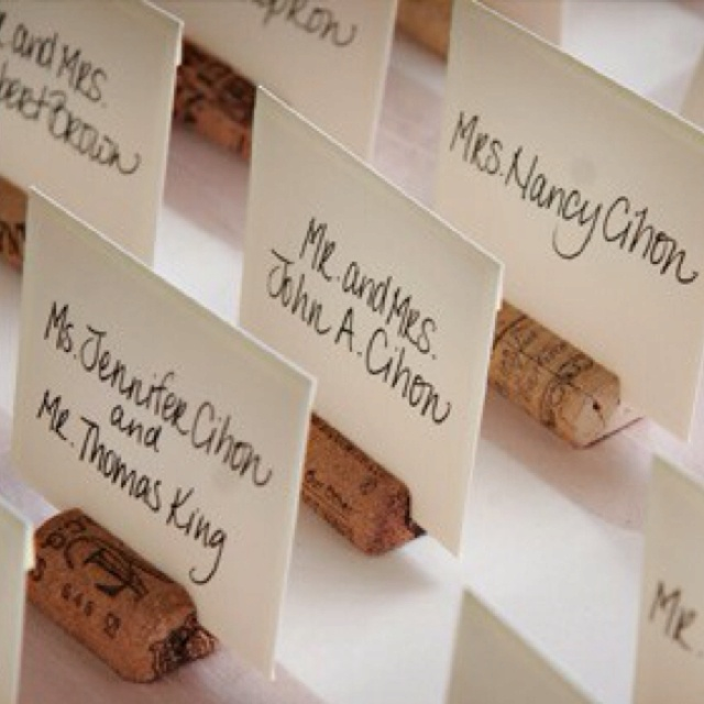 simple and elegant wine cork place card holders