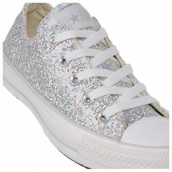 White converse with glitter. Bridal shoes for me