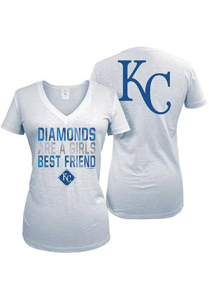 Kansas City (KC) Royals T-Shirt - White Royals Diamonds Are A Girls Best Friend Short Sleeve Tee http://www.rallyhouse.com/shop/kansas-city-royals-5th-and-ocean-88880050 $29.99