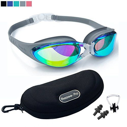 Swimming Goggles with FREE Stylish Case - Ear Plugs & Nose Clip - Anti-Fog Mirror Color Lens - 100% UV Protected - Adjustable Silicone Head Strap - Leak proof Seal - Expert Unisex Adult Swim Goggles - http://www.exercisejoy.com/swimming-goggles-with-free-stylish-case-ear-plugs-nose-clip-anti-fog-mirror-color-lens-100-uv-protected-adjustable-silicone-head-strap-leak-proof-seal-expert-unisex-adult-swim-goggle/swimming/