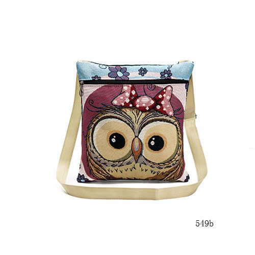 Miyahouse Cute Owl Printed Canvas Crossbody Shoulder Bags Summer Female Casual Canvas Bags Owl Design Messenger Bag