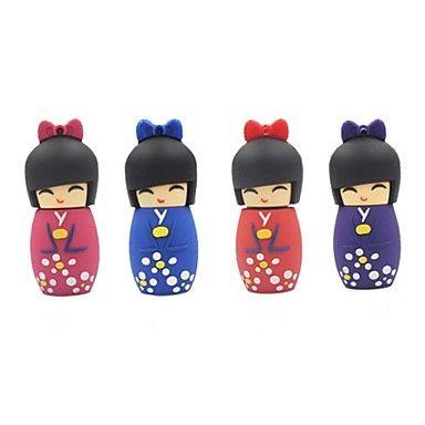 4gb artoon poupée japonaise usb 2.0 lecteur flash stylo de couleur aléatoire - USD $ 2.69