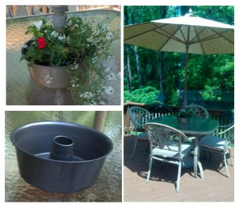 Made A Planter To Go Around The Umbrella On My Deck Table