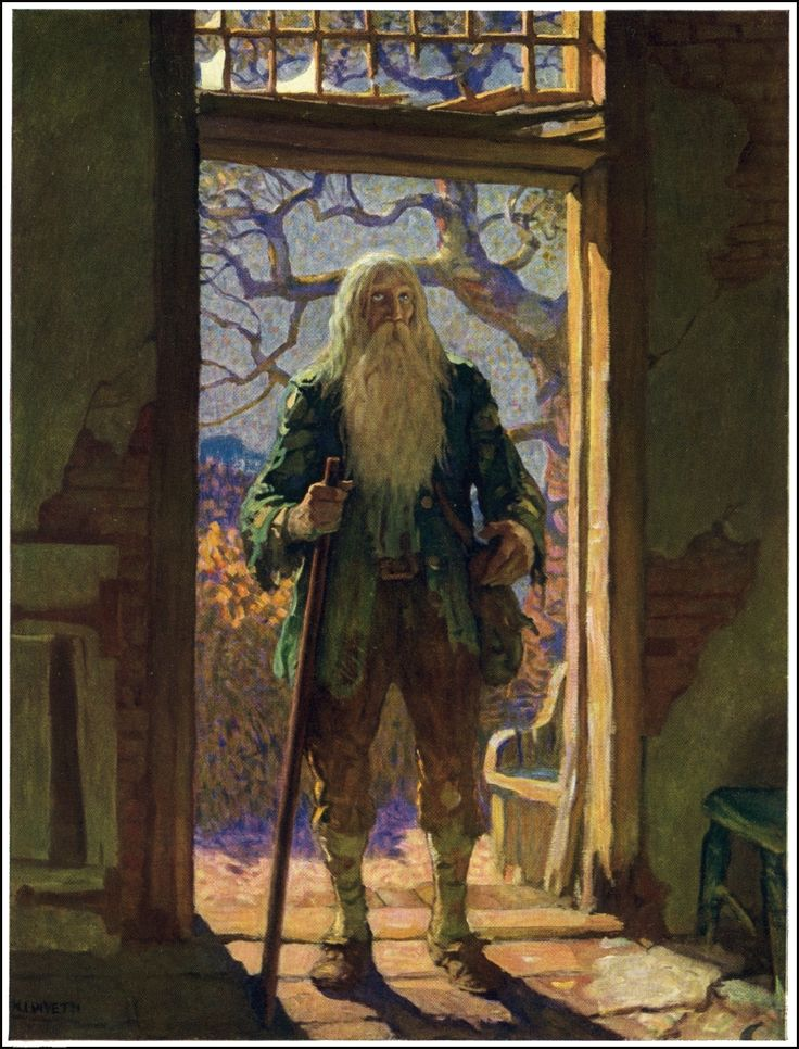 "N.C. Wyeth illustration for ""Rip Van Winkle"" by Washington Irving (1921)"
