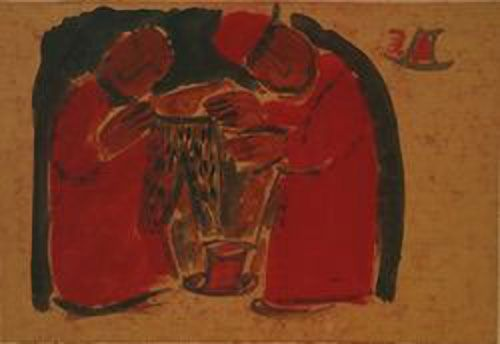 """Selling trousers. Valentin Yustitskiy 1892-1951. He studied in Art Studio in Vilnus. In 1913 sculpture in Paris. 1915 he participated the artist-fantasts, a group """"13"""".In 1918-1935, he headed the studio of painting and drawing in Saratov. In 1923, his solo exhibition was held in Saratov. In 1936, he lived in Moscow, where he illustrated books. In 1937 he was sentenced  9 years imprisonment and 5 years of exile. Yustitskiy returned to his work only in Saratov 1946 where he was sent into…"""