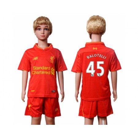 Liverpool Trøje Børn 16-17 #Balotelli 45 Hjemmebanetrøje Kort ærmer.199,62KR.shirtshopservice@gmail.com
