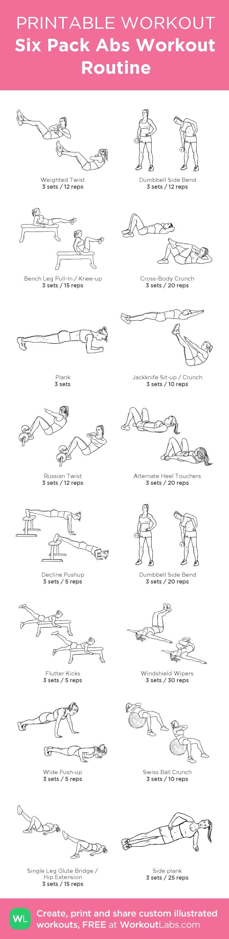 Six Pack Abs Workout Routine: my custom printable workout by @WorkoutLabs #workoutlabs #customworkout: