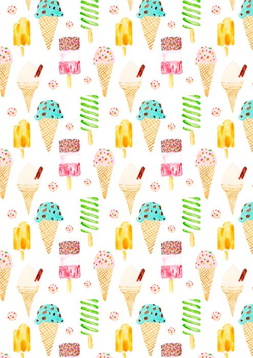 ice cream and ice lolly - pattern by laura redburn