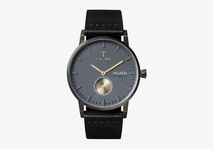 Hodinky Triwa – Walter Falken – pouzdro ocelové tmavě šedé barvy, černý náramek – dámské a pánské, elegantní náramkové  #triwa #falken #watches #women #men #steel #case #leather #strap #black #grey