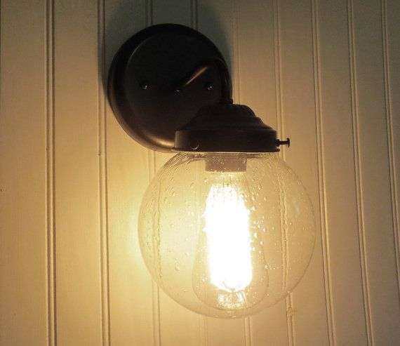 Seeded Glass Sconce Light With Edison Bulb Wall Flush Mount Lighting Fixture Farmhouse