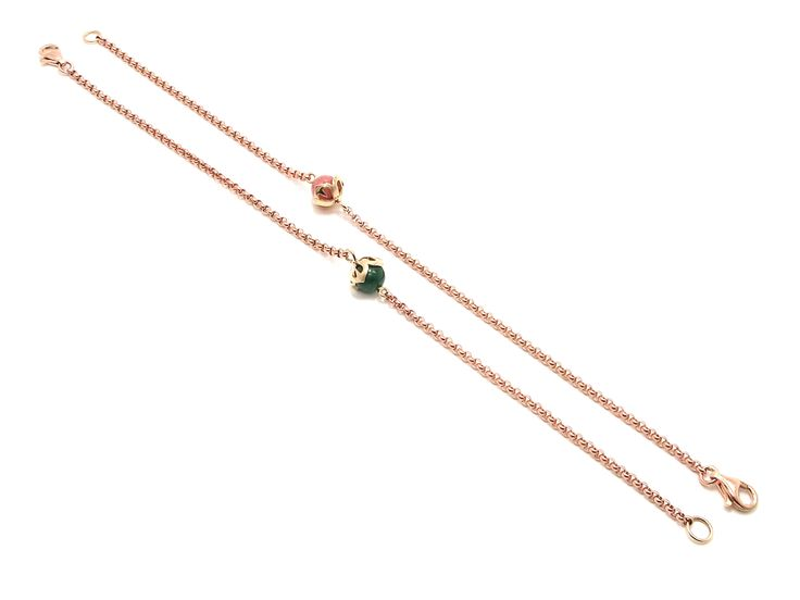 Goud - rose en geel gouden armbanden 'Harten Vier Bol 6' met een massieve jasseron schakel en natuurlijke edelstenen - Annexs juwelier goudsmid Utrecht