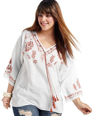 American Rag Plus Size Top, Three-Quarter-Sleeve Embroidered Peasant - Plus Size Tops - Plus Sizes - Macy's