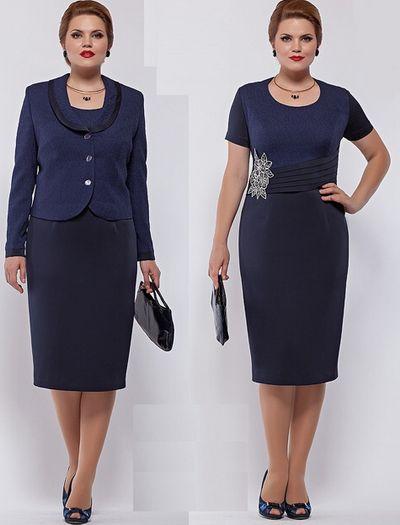 Платье-костюм для полных женщин, лучшие модели, 14 фото