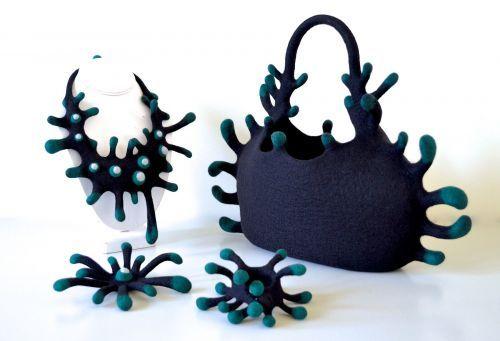 Felt art by ::taneno.::a bag and assembling jewelries - produced by Atsuko Sasaki
