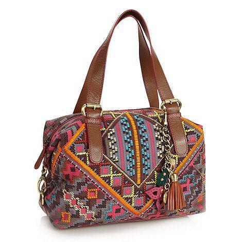 9077e9f70c Mathew Williamson : Designer tan embroidered geometric bowler bag | FASHION  | Bags, Textiles techniques, Fashion
