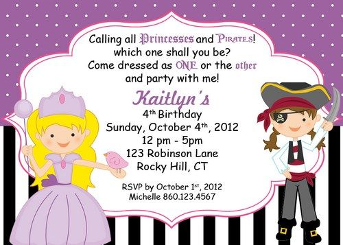 32 best images about Princess and Pirate Party – Free Pirate Party Invitations