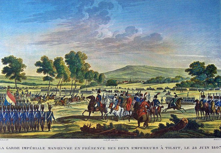 """""""The Imperial Guard marching in front of the two emperors at Tilsit"""" colored litho by Antoine Charles Horace Vernet (called Carle Vernet)(1758 - 1836) and Jacques François Swebach (1769-1823)"""