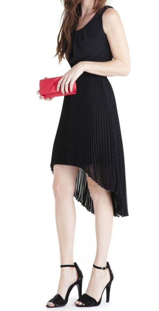 robe noire mi longue asymétrique Manoukhian