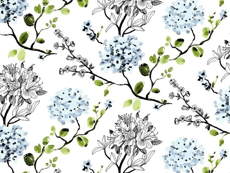 Melissa Blue Wallpaper - A stunning wallpaper that incorporates blue watercolour and linear flowers to create a remarkable design. Designed by Vallila Interiors in Helsinki and exclusive in NZ to Harvey Furnishings.