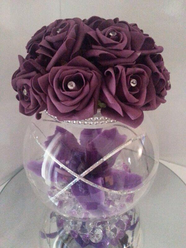Deep Purple ROSES WEDDING TABLE FISH BOWL CENTRE PIECE FOAM ROSES