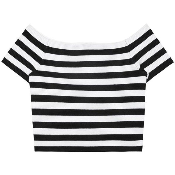 Womens Crop Tops Alice + Olivia Grant Off-the-shoulder Jersey Top ($380) ❤ liked on Polyvore featuring tops, crop tops, shirts, crop, t-shirts, striped shirt, off the shoulder shirts, black white stripe shirt, off shoulder crop top and stripe crop top