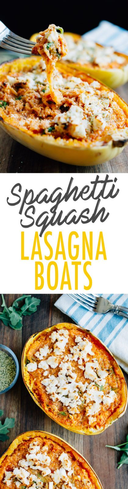 Turn spaghetti squash into a meatless meal with this recipe for stuffed SPAGHETTI SQUASH LASAGNA BOWLS. Made with vegan ricotta and hemp parmesan.
