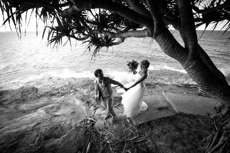 Bride and groom at Cylinder Headland, Stradbroke Island Photography - North Stradbroke Island - Wedding Gallery