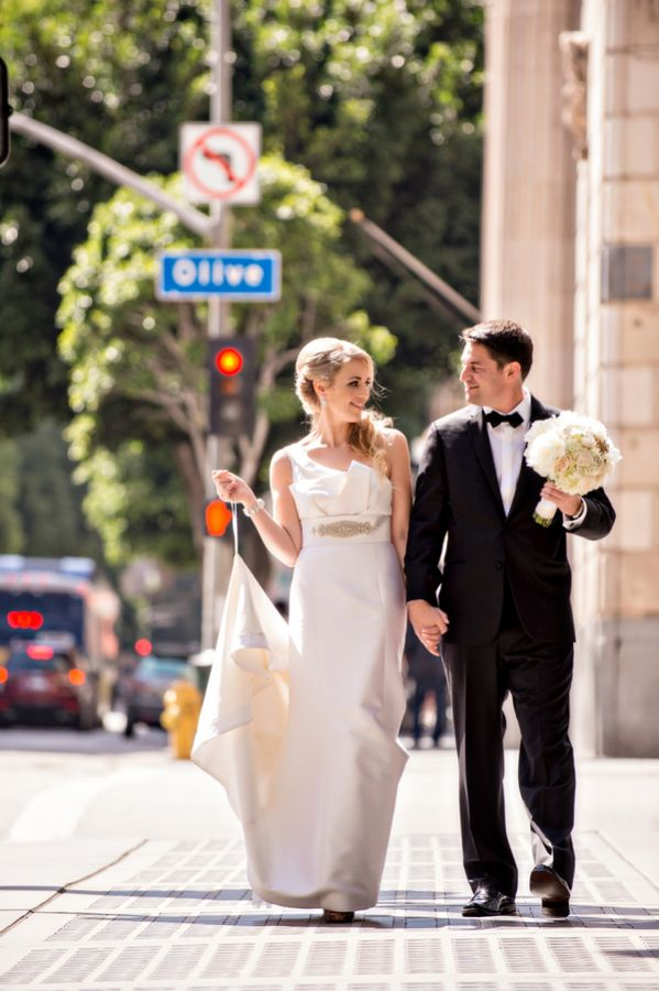 Bride and Groom Walking Downtown LA | photography by http://www.bandgphotography.com/
