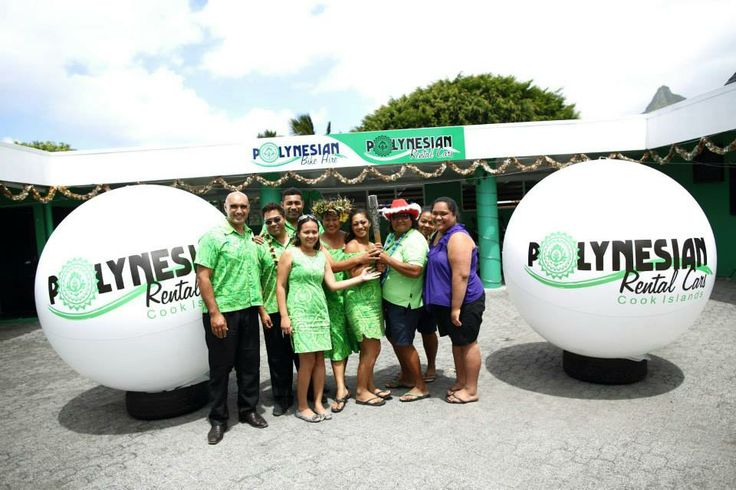 The Queen's Baton Relay makes it way through Rarotonga in the Cook Islands. Here are the team from Polynesian Rental Cars.
