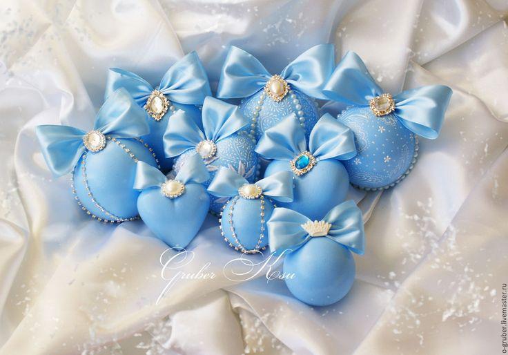 """Купить Набор елочных шаров """" Голубые небеса"""" - елочные игрушки, елочные украшения"""