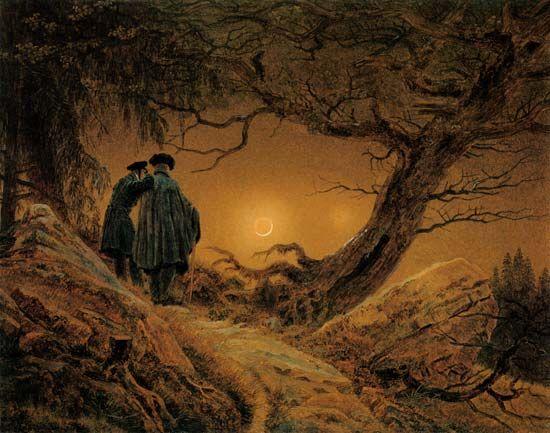 """""""Zwei Männer in Betrachtung des Mondes"""" (1819) von Caspar David Friedrich (geboren am 5. September 1774 in Greifswald, gestorben am 7. Mai 1840 in Dresden), deutscher Maler, Grafiker und Zeichner. Er gilt heute als der namhafteste Künstler der deutschen Frühromantik."""