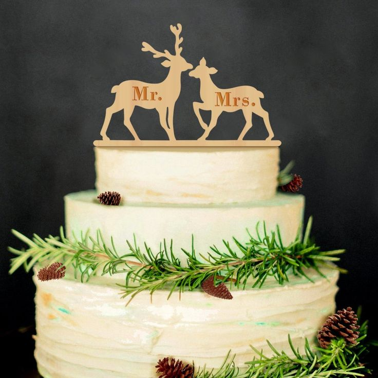 Mr Mrs Wedding Cake Topper (Wood /Deer Moose /Rustic Vintage Christmas)