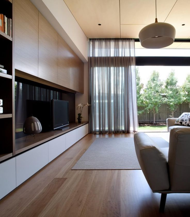 Hawthorn East Residence By Chan Architecture   Curtains   TV Wall Unit