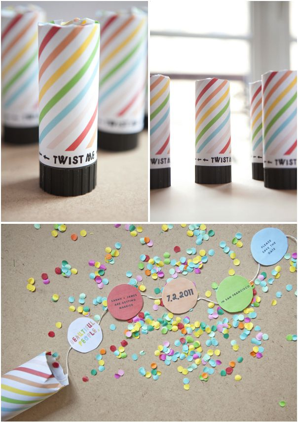 confetti popper invitations from Oh Happy Day! We are using this exact tutorial for the invitations of an upcoming sweet16. So fun & memorable (& inexpensive)!