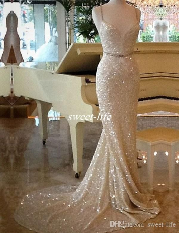 Sparkly Sequine Long Evening Dresses 2017 Cheap Mermaid Spaghetti Straps Backless Long Occasion Dress Prom Party Queen Gowns with Train Sexy Evening Dresses Sequined Prom Dresses Online with 123.0/Piece on Sweet-life's Store | DHgate.com