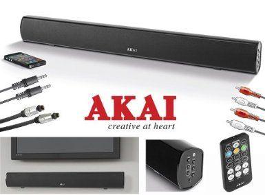 "Akai 120 watt Audio & TV Soundbar - 3 YEAR GUARANTEE - Multi Inputs: Toslink Optical, RCA Phono (Red + White), Long Range Bluetooth & 3.5mm Jack - Slim & Powerful - Superb Sound from Television Soundbar - with FM Radio Inbuilt - Ideal for 32"" TVs and bigger - Ideal for most TV's inc: Sony, LG, Samsung, Toshiba, Sharp, Panasonic, etc (UK Model Package inc Remote Control, Wall Bracket & manual) Black (37"" (37 inch)): Amazon.co.uk: Electronics"