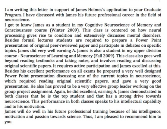 Recommendation Letter For Masters Degree In Education