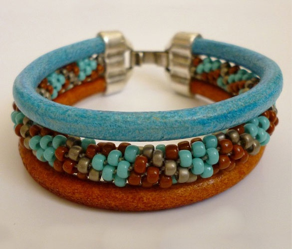 Designer Sally Battis created this very cool Kumihimo Bracelet using the Triple Hole 5MM Round Clasp and 2 5mm Round Leather Cords as part of her design.