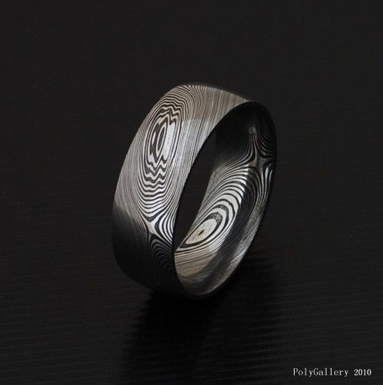Genuine stainless Damascus Steel Mens Ring