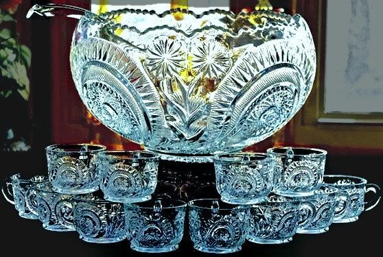 Punch Bowl, Punch Bowl Set, Glass Punch Bowl by PrairieVillageMarket on Etsy