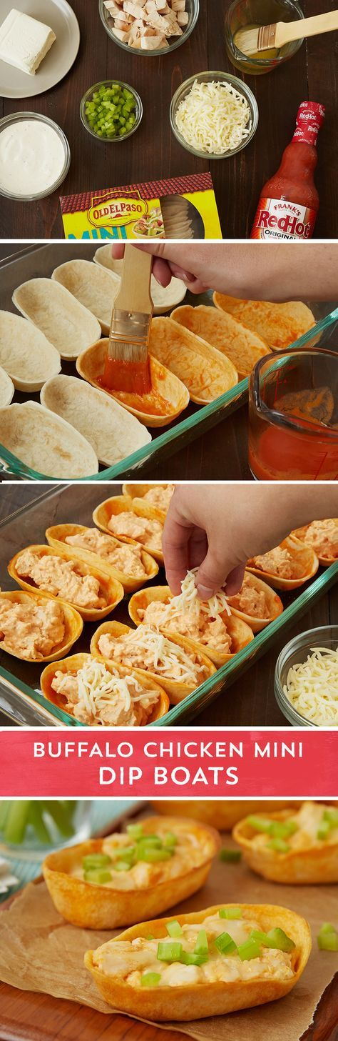 Get buffalo chicken dip in a portable, party-friendly mini taco boat with this easy recipe. Old El Paso™ mini Taco Boats™ get dressed up with a melted butter and hot sauce before getting stuffed with a super easy party favorite. Ranch dressing, chopped cooked chicken, softened cream cheese, and a little more hot sauce get combined for quick buffalo chicken dip. Fill your Old El Paso™ mini Taco Boats™, top with cheese, and bake for 20-25 minutes. Add a little heat to your next football watch…