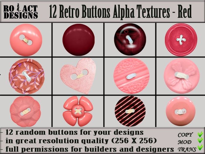 Ro!Act Designs 12 Retro Buttons Alpha Textures - Red