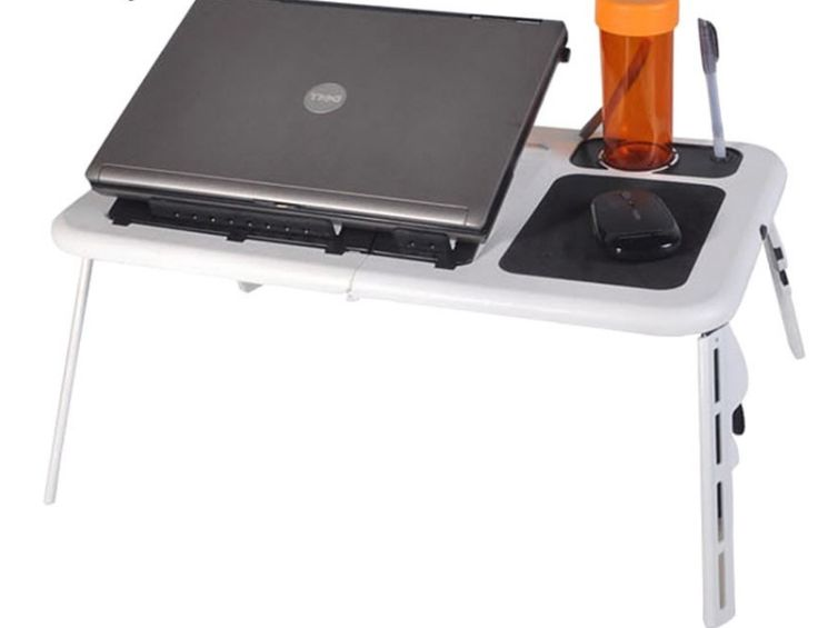 Laptop Table Portable Folding Adjustable 2 Cooling Fans Mouse Pad - Laptop Cooling Pads