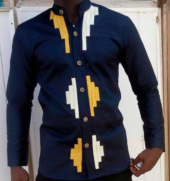 BlueBlack chemise avec broderie or classique africain