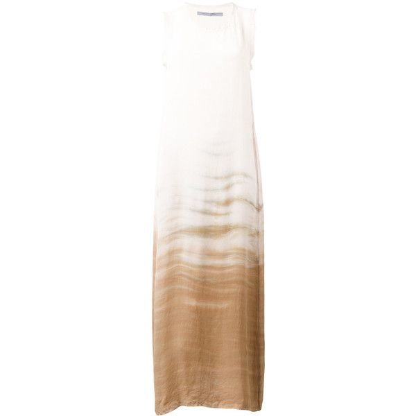 Raquel Allegra tie-dye print maxi dress (720 CAD) ❤ liked on Polyvore featuring dresses, brown, maxi dress, white silk dress, white maxi dress, tye dye maxi dress and silk tie dye dress