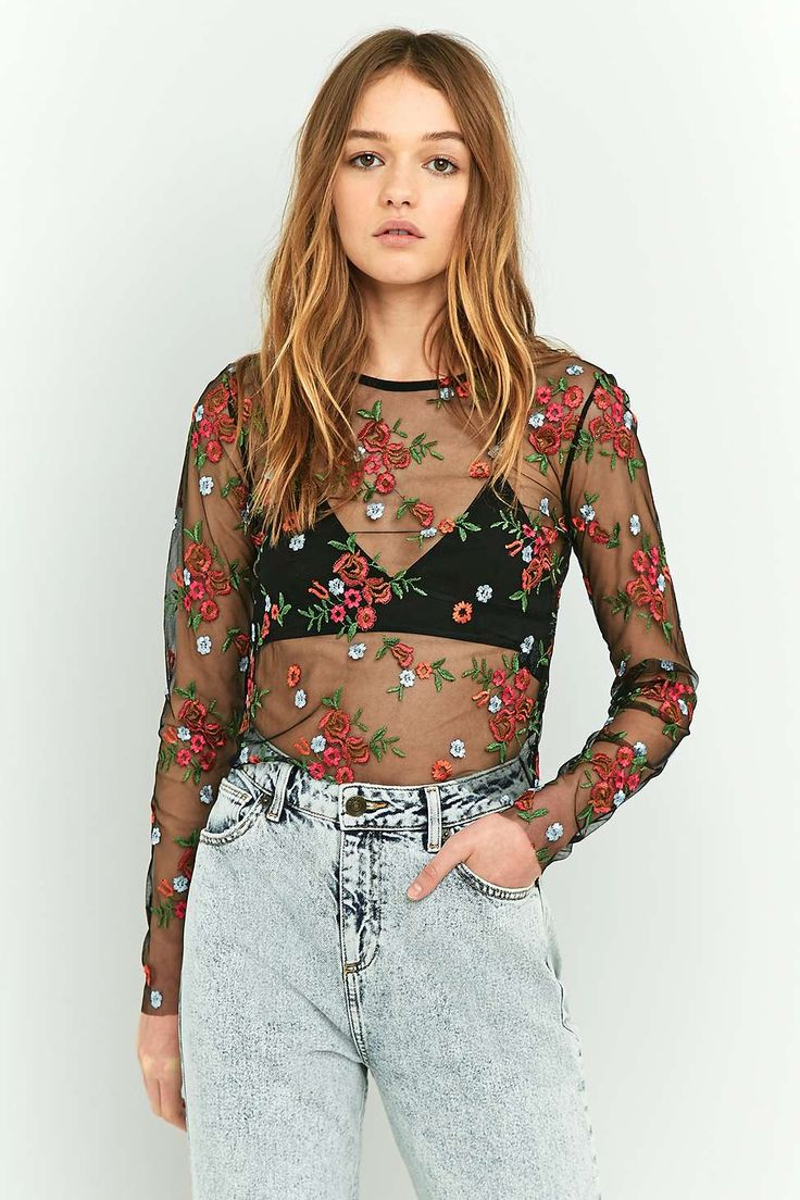 Pins & Needles Sheer Embroidery Crop Top €55